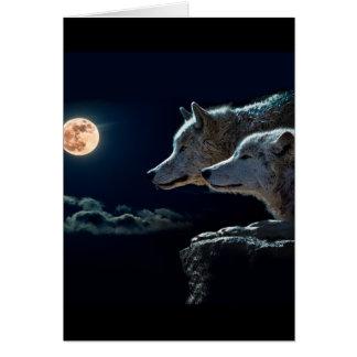 Carte Loups de loup hurlant à la pleine lune