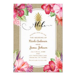 Carte Luau exotique tropical d'ananas d'or de fleurs