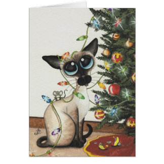 Carte Lumières de Noël de chat siamois par AmyLyn Bihrle