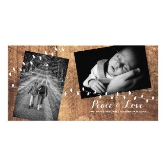 Carte Lumières répandues par Noël en bois de photos