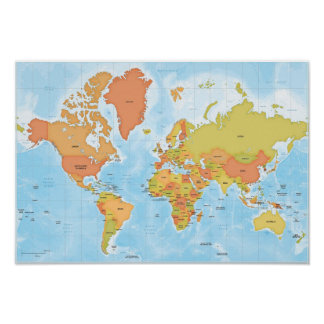 Carte lumineuse du monde poster