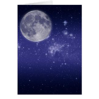 Carte Lune et étoiles brillantes