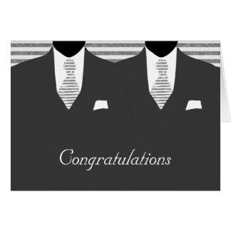 Carte M. et M. deux félicitations grises de mariage de