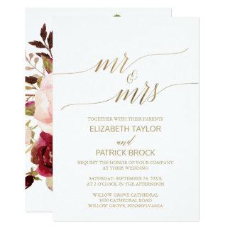 """Carte M. et Mme"""" floraux mariage de calligraphie"""