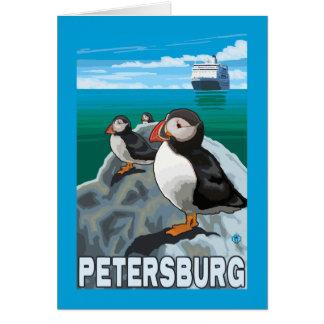 Carte Macareux et bateau de croisière - Pétersbourg,