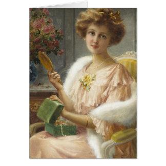 Carte Madame avec le miroir et la boîte à bijoux,