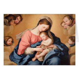 Carte Madonna avec l'enfant et les anges