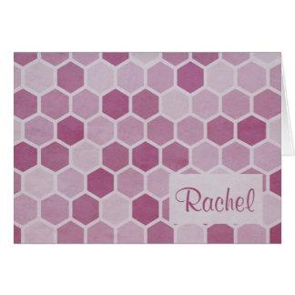 Carte magenta de monogramme d'hexagones