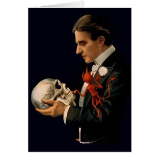 Carte Magicien vintage, Thurston tenant un crâne humain
