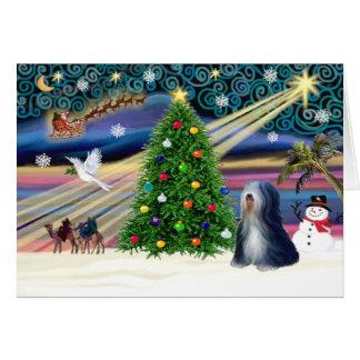 Carte Magie-Tibétain Terrier (BW) de Noël