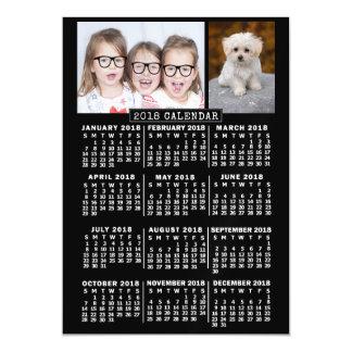 Carte Magnétique 2018 modèle photo mensuel du noir   de calendrier