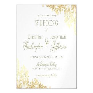 Carte Magnétique Blanc chic et mariage floral de dentelle de