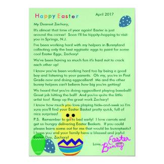 Carte Magnétique Lettre d'oeuf rayé de poussin de lapin de Pâques