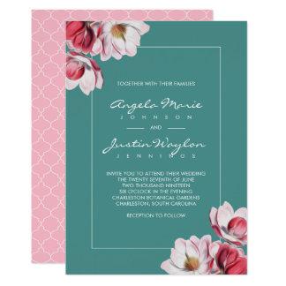 Carte Magnolia du sud épousant le rose et le vert