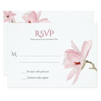 Carte Magnolias et verdure roses RSVPs