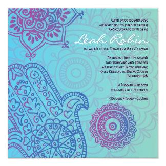 Carte MAIN de l'Aqua HEMSA d'invitation de bat mitzvah