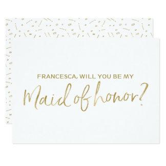 """Carte Main d'or marquée avec des lettres """"vous serez ma"""