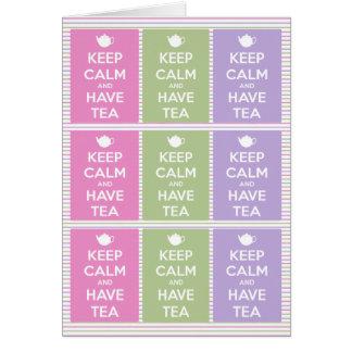 Carte Maintenez calme et ayez le collage de thé