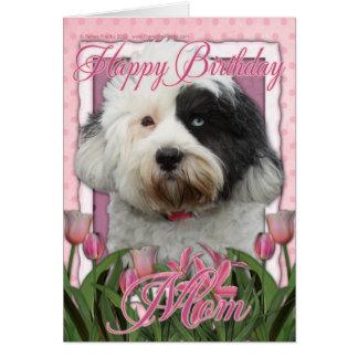 Carte Maman de joyeux anniversaire - Terrier tibétain