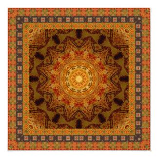 Carte Mandala encadré géométrique orange