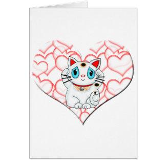 Carte Maneki blanc Neko montrant le chat du doigt de