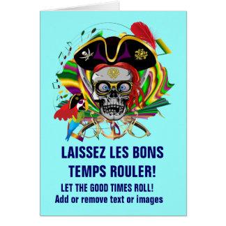 Carte Mardi gras de modèle de pirate