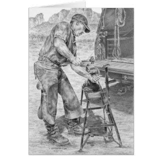 Carte Maréchal-ferrant travaillant avec le dessin