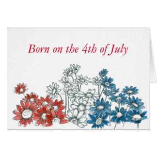 Carte Marguerite bleue blanche rouge de joyeux 4 juillet