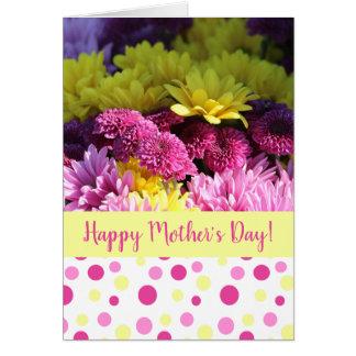 Carte Marguerites du jour de mère, roses et jaunes, pois