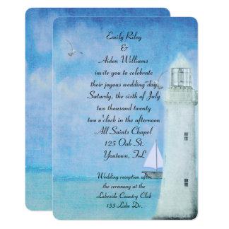 Carte Mariage blanc nautique de phare