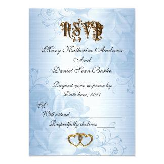 Carte Mariage bleu élégant de satin de RSVP