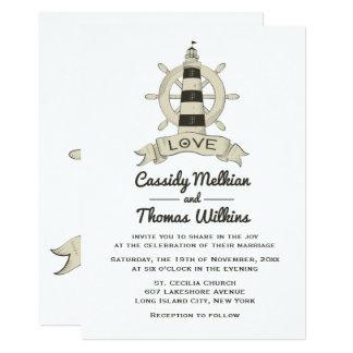 Carte Mariage bronzage de bateau de phare nautique de