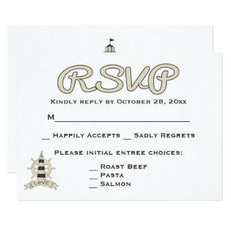 Carte Mariage bronzage nautique de roue de phare et de