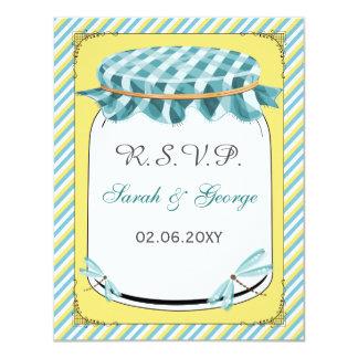 Carte Mariage d'Aqua de jaune de pot de maçon de