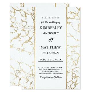 Carte Mariage de marbre élégant blanc d'or élégant de