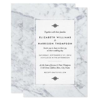 Carte Mariage de marbre vintage élégant