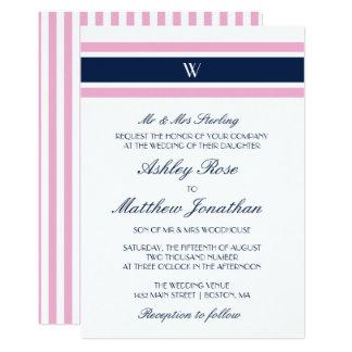 Carte Mariage de monogramme de rose et de bleu marine  