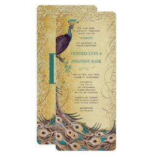 Carte Mariage de paon de Nouveau d'art d'aubergine