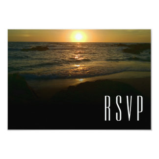 Carte Mariage de plage de coucher du soleil RSVP