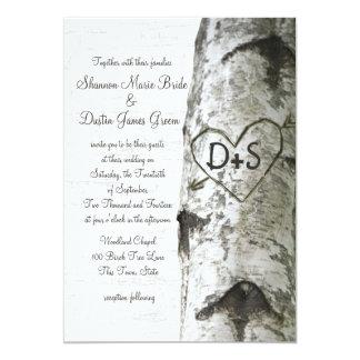 Carte Mariage découpé d'arbre de bouleau de coeur