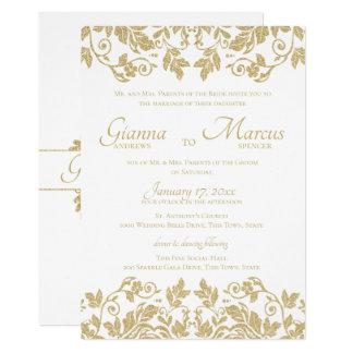 Carte Mariage d'emblème de damassé d'or