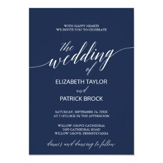 Carte Mariage élégant de calligraphie de marine