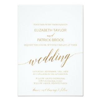 Carte Mariage élégant de calligraphie d'or