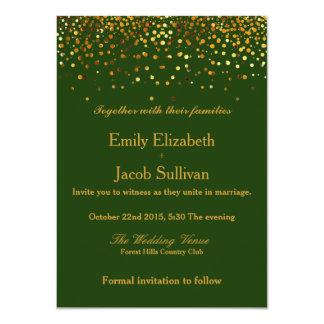 Carte Mariage élégant de confettis de feuille d'or de