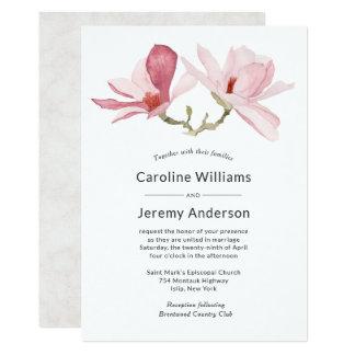 Carte Mariage élégant de magnolia de rose d'aquarelle