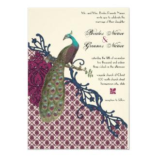 Carte Mariage élégant de paon de damassé de baie de