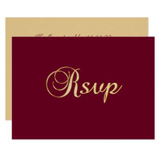 Carte Mariage élégant personnalisé de Bourgogne RSVP
