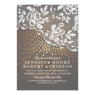 Carte Mariage élégant rustique de confettis en bois et