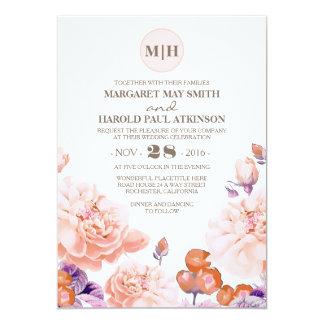 Carte Mariage élégant vintage floral en ivoire de jardin