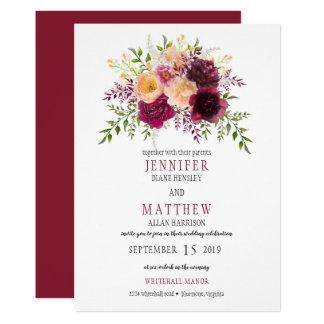 Carte Mariage floral   d'aquarelle de Bourgogne et de